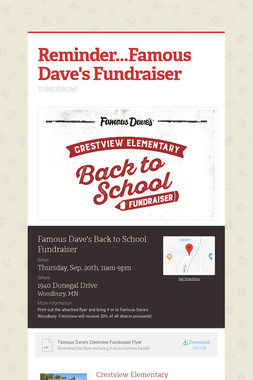 Reminder...Famous Dave's Fundraiser