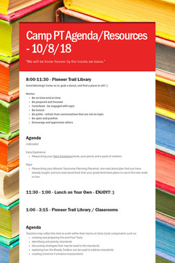 Camp PT Agenda/Resources - 10/8/18