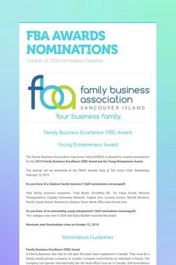 FBA AWARDS NOMINATIONS