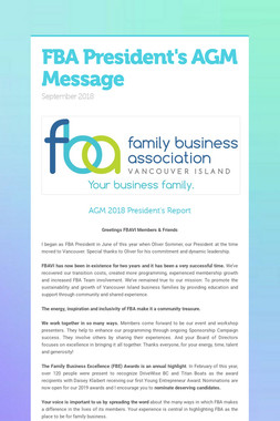 FBA President's AGM Message