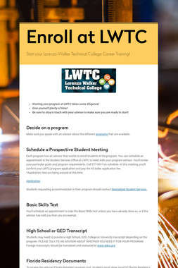 How to Enroll in CTE LWTC