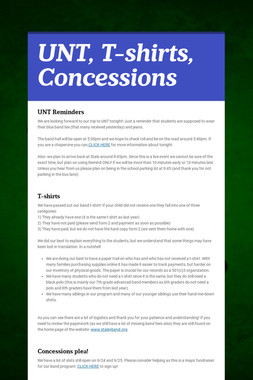 UNT, T-shirts, Concessions