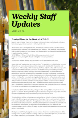 Weekly Staff Updates