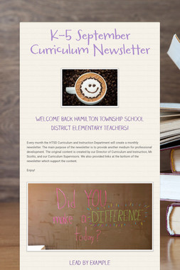 K-5 September Curriculum Newsletter