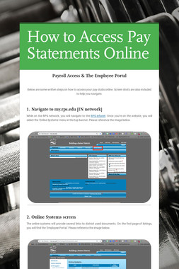 How to Access Pay Statements Online
