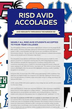 RISD AVID Accolades