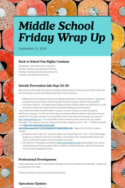 Middle School Friday Wrap Up