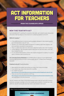 ACT Information for Teachers