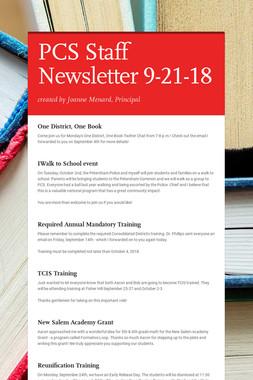 PCS Staff Newsletter 9-21-18