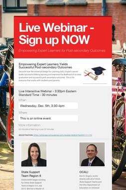 Live Webinar - Sign up NOW