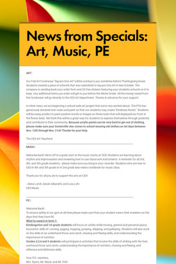 News from Specials: Art, Music, PE