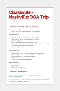 Clarksville - Nashville: BOA Trip