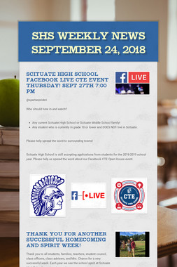 SHS Weekly News September 24, 2018