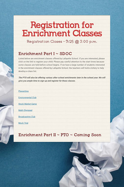 Registration for Enrichment Classes