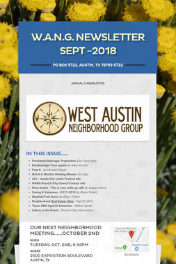 W.A.N.G. Newsletter SEPT -2018