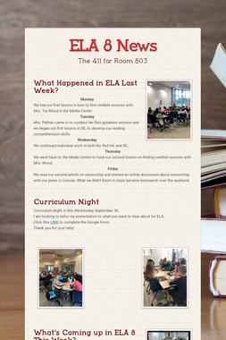 ELA 8 News
