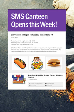 SMS Canteen Opens this Week!