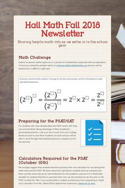 Hall Math Fall 2018 Newsletter