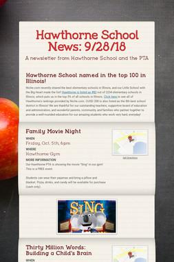 Hawthorne School News: 9/28/18