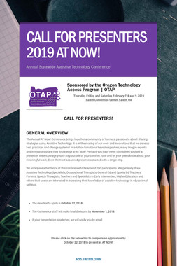CALL FOR PRESENTERS 2019 AT NOW!