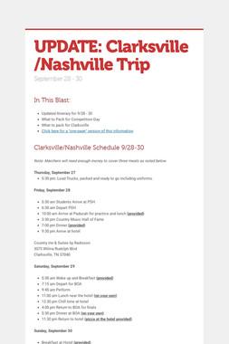UPDATE: Clarksville /Nashville Trip
