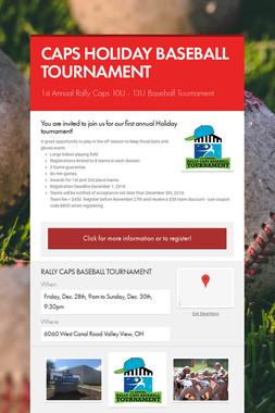 CAPS HOLIDAY BASEBALL TOURNAMENT