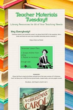 Teacher Materials Tuesday!!