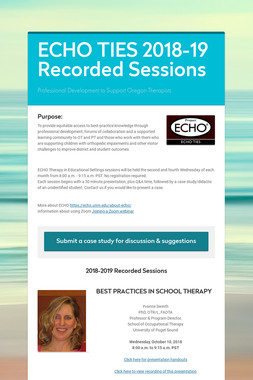 ECHO TIES 2018-19 Recorded Sessions