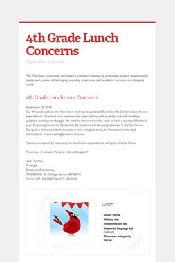 4th Grade Lunch Concerns