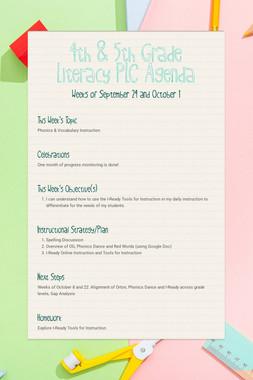 4th & 5th Grade Literacy PLC Agenda