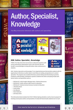 Author, Specialist, Knowledge