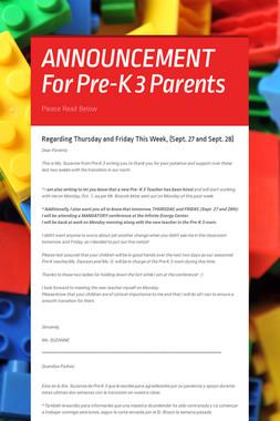 ANNOUNCEMENT For Pre-K 3 Parents