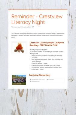 Reminder - Crestview Literacy Night