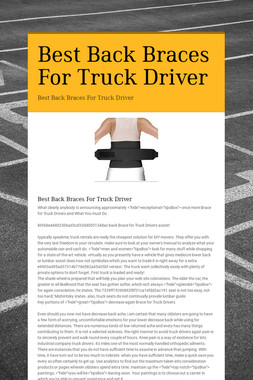 Best Back Braces For Truck Driver
