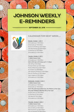 Johnson Weekly e-Reminders
