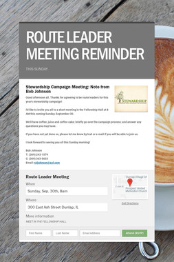 ROUTE LEADER MEETING REMINDER