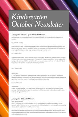Kindergarten October Newsletter