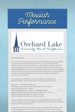 Messiah Performance