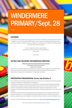 WINDERMERE PRIMARY/Sept. 28