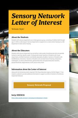 Sensory Network Letter of Interest