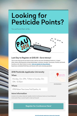 Looking for Pesticide Points?