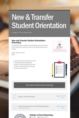 New & Transfer Student Orientation