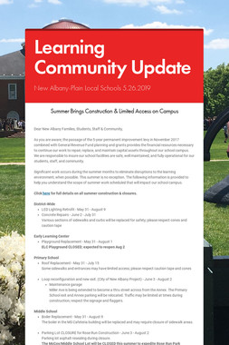 Learning Community Update