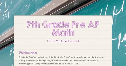 7th Grade Pre Ap Math Smore Newsletters For Education