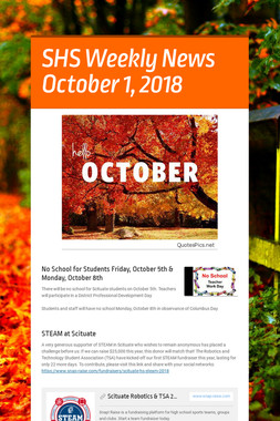 SHS Weekly News October 1, 2018
