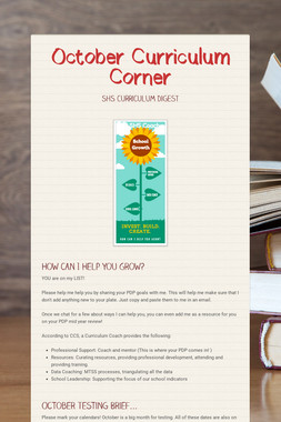 October Curriculum Corner