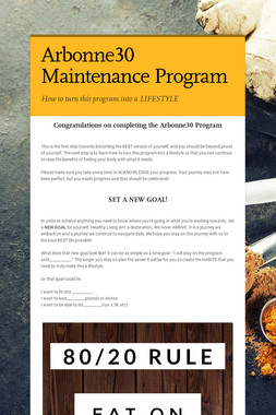 Arbonne30 Maintenance Program