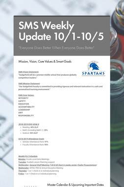 SMS Weekly Update 10/1-10/5