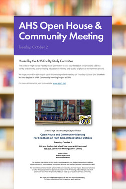 AHS Open House & Community Meeting