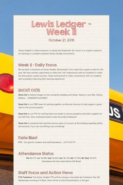 Lewis Ledger - Week 11